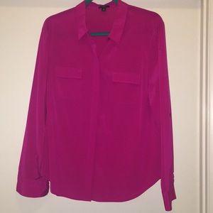 Ann Taylor silk button down collared blouse